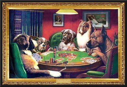 Poker Room art decor Framed Art A Bold Bluff by artist Coolidge Dogs Playing