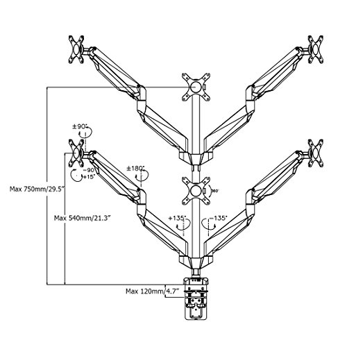 Extension Six Monitor Arm Desk Mounts Stand For 10''-27'' LCD Screens (D7S) by Loctek (Image #4)