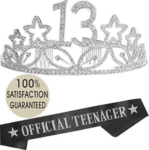 13th Birthday Tiara and Sash| HAPPY 13th Birthday Party Supplies| Official Teenager Satin Sash and Crystal Tiara Birthday Crown for 13th Birthday| 13th Birthday Decoration Party Supplies (Silver -