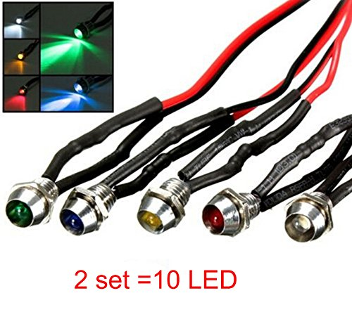 Green Led Indicator Light (10PCS LED Indicator Light Bulbs Lamp Dash Directional for Car Vehicle Truck Boat DC 12V Blue Red Yellow Green White)