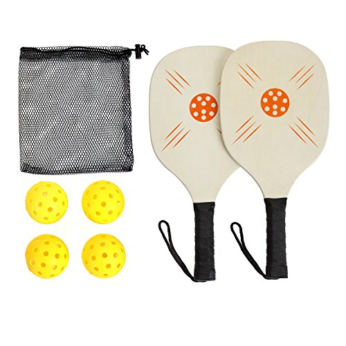 (Pickleball Paddle Set - Beginner Pickleball Racket and Beach Paddle Ball Game- Outdoor & Indoor Game丨Includes 2 Wood Racquets & 4 Balls & 1 Mesh Carrying Bag丨Popular In Schools,Community Centers)
