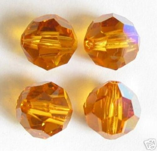 8 pcs Swarovski Crystal 5000 Round Faceted Bead Topaz Ab 10mm / Findings / Crystallized Element