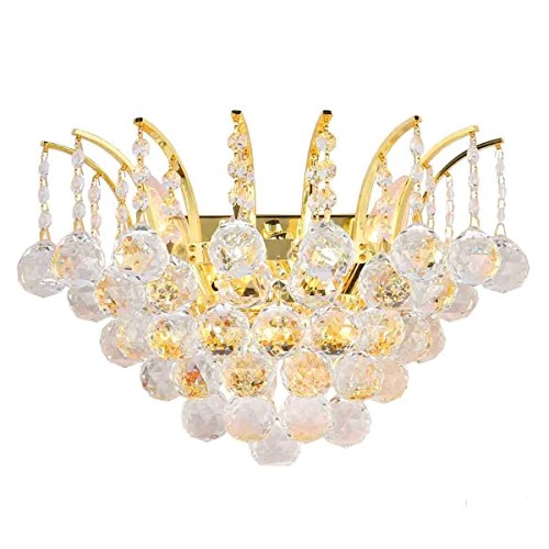 Worldwide Lighting Empire Collection 3 Light Gold Finish and Clear Crystal Wall Sconce 16