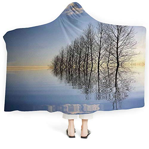"""iPrint Throws Blanket Landscape Soft Fluffy Minky Warm Cover Relieves Anxiety Stress Insomnia Sunset at Mountain Lake Strbske National Park Dramatic Sky Boats (Kids 50""""x 60"""")"""