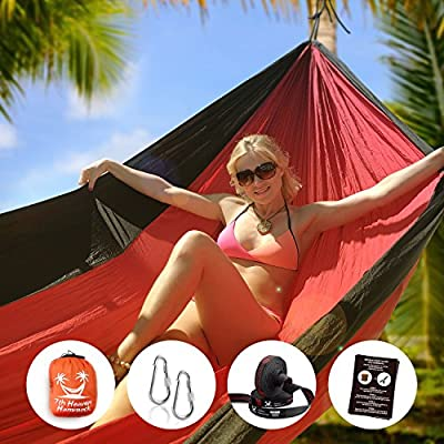 """7th Heaven Hammock"", Premium Parachute Silk Camping Portable HAMMOCK SET, Free Straps, Doublenest 400lbs Strong, Lightweight, Fast and Easy Setup, Includes Straps for Hanging, Includes Carabiners, Indoor and Outdoor Use, Portable Bed"