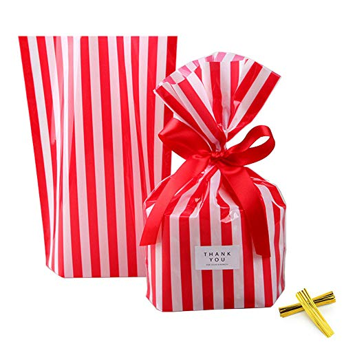 ZOOYOO Red Stripes Clear Cello Bags Plastic Candy Party Favor cellophane Treat Bags,Pack of 50 ()