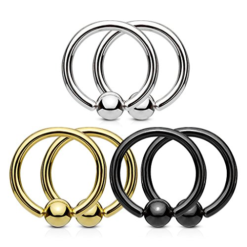Fifth Cue 3 Pair Set Fixed Ball 316L Surgical Steel Captive Bead Rings Value Pack - Choose Size (20G | 5/16