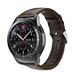iBazal Gear S3 Watch Band, Gear S3 Frontier/Classic Leather Band 22mm Genuine Leather Strap Replacement Band for Samsung Gear S3 Frontier/Classic SM-R760 and Moto 360 2nd Gen 46mm Watch - Coffee - L