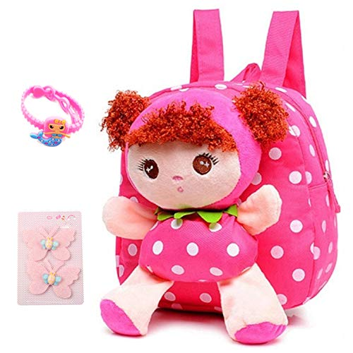 Suerico Cute Kids Toddler Backpack Plush Toy Backpack Snack Travel Bag Pre-School bags For Girls 1-5years (pink) (Christmas Gifts For 3 Year Old Girl)