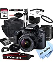 Canon EOS 4000D DSLR Camera with 18-55mm f/3.5-5.6 Zoom Lens + 32GB Card, Tripod, Case, and More (18pc Bundle)