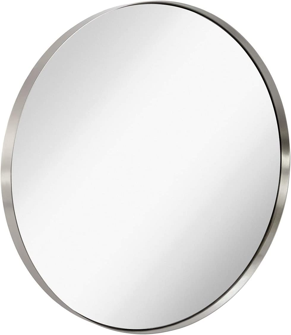 """Hamilton Hills Contemporary Brushed Metal Silver Wall Mirror 