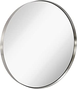 Hamilton Hills Contemporary Brushed Metal Silver Wall Mirror | Glass Panel Silver Framed Rounded Circle Deep Set Design (35
