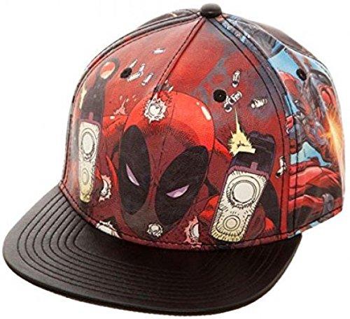 Bioworld Marvel Deadpool Printed PU Snapback Cap Apparel -