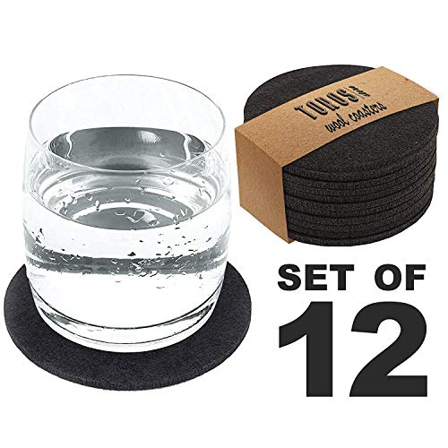 Set of 12 Felt Drink Coasters 4x4 inches - Round Coaster for Drinks Absorbent - Thick Coasters for Glasses - Premium Cup Mats - Protect Furniture from Heat, Stain, Scratches and Condensation