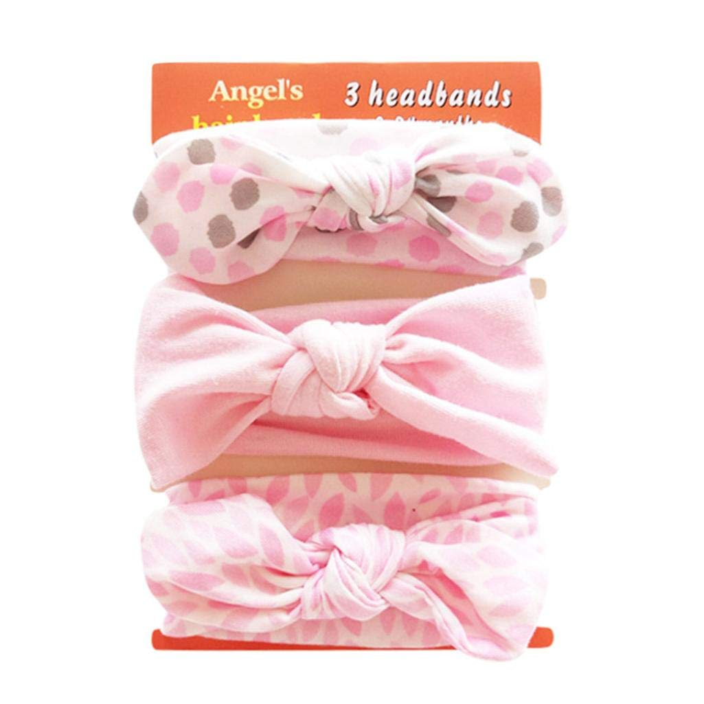 Baby Elastic Bowknot Headbands, 3Pcs Girl's Kids Floral Headband Set For Newborn Toddler and Children Birthday Present Gift (H) Maheegu
