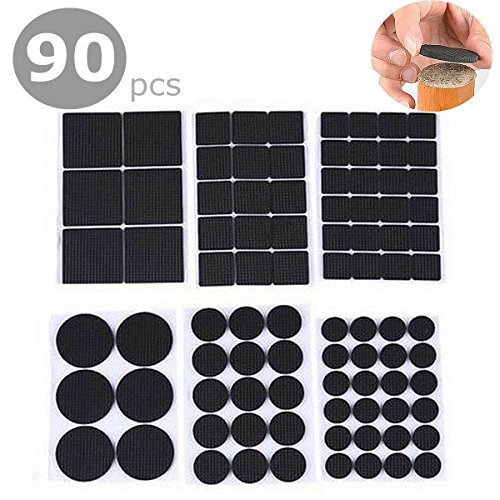 Slide Thin (Furniture Pads, IMAVO Self-Stick Rubber Pad 90 PCS Value Pack Furniture And Floor Protectors Anti-Skid & Scratch Rubber Furniture Protection Pads Kit (Round))