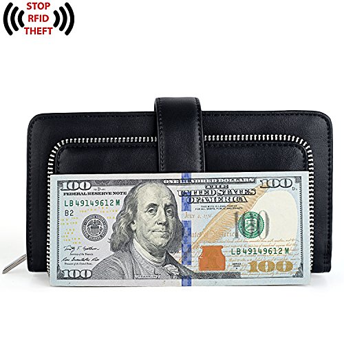 UTO Women PU Leather Wallet RFID Blocking Large Capacity 15 Card Slots Smartphone Holder Snap Closure New Black by UTO (Image #6)
