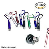 willway Pack of 8 Laser Pointer Chaser Toys for Cats, Powerd by 3 LR44 Button Batteries, Interactive Toy with LED Flash Light for Pets, Cat Training Tools