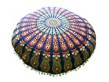 32'' Mandala Barmeri Large Floor Pillow Cover Cushion Meditation Seating Ottoman Throw Cover Hippie Decorative Zipped Bohemian Pouf (Blue) MyCrafts