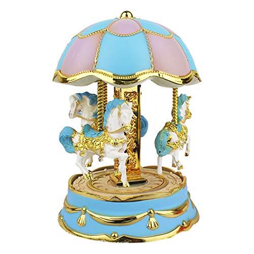 Blueseao Kids Merry-Go-Round Horse Music Box, Carousel Music Box - Girls Christmas Birthday Gift (Blue) ()