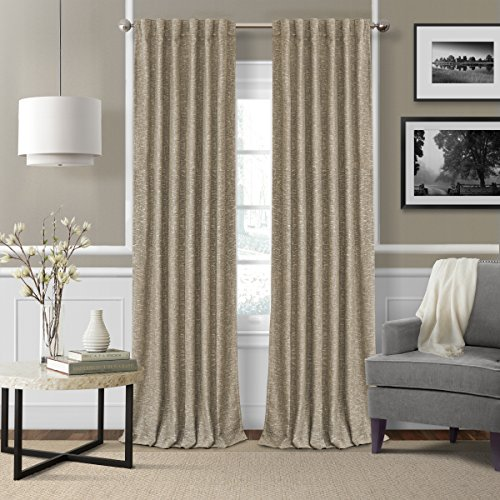 - Elrene Home Fashions 26865901122 3-in-1 Blackout Energy Efficient Lined Linen Rod Pocket Window Curtain Drape Panel, 52