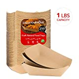 """Paper Food Boats (250 Pack) Disposable Brown Tray 1 Lb - Eco Friendly Brown Paper Food Tray 4"""" x 2"""" – Serving Boats for Concession Stand Food"""