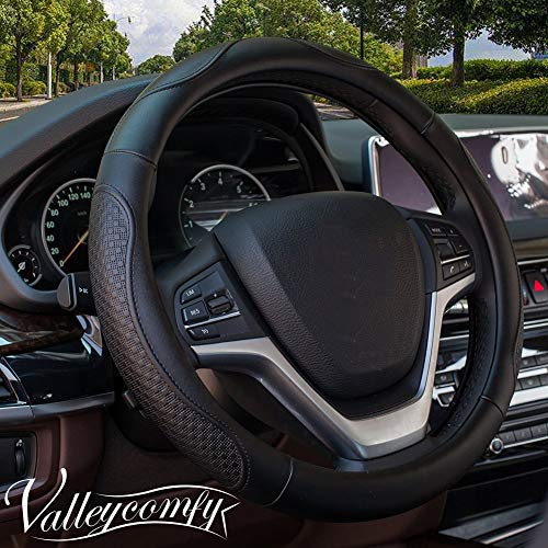 Valley Grip Sun - Valleycomfy Steering Wheel Covers Universal 15 inch - Genuine Leather, Breathable, Anti Slip & Odor Free (04-Black)