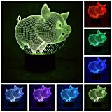 ChiMoon Pig 3D Night Light for Kids, 3D LED Illusion lamp 7 Colors Changing Table Desk Visual Lamp Home Decoration Gifts Toys for Children Kids,Flat Acrylic Panel and ABS Base (Pig)