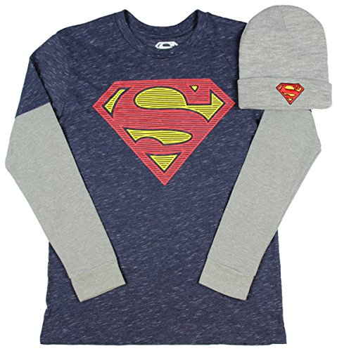Superman Long Sleeve Mens Graphic Shirt with Beanie (Large 42/44)