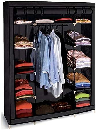 Probache Armoire De Rangement Noire Dressing Penderie Xxl Tissu Amazon Fr Bricolage