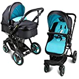 Baby stroller travel system folding pram pushchair infant toddler carriage high landscape (blue)