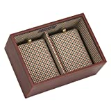 ** STACKER SALE 25% OFF ** Stackers Mini 2 Deep Section Faux Leather Watch Box Stacker, Tan with Check Cotton Lining