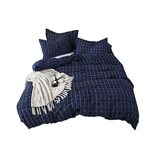 Lausonhouse Cotton Duvet Cover Set,100% Cotton Seersucker Duvet Cover with 2 Pillowshams,3 Pieces Check Bedding Set- Queen- Navy