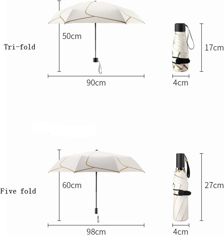 Color : White, Size : Five-fold TIAN Simple Plaid Folded Black Sun Zero Light Shade UV Protection Sunny and Rainy Day Umbrella