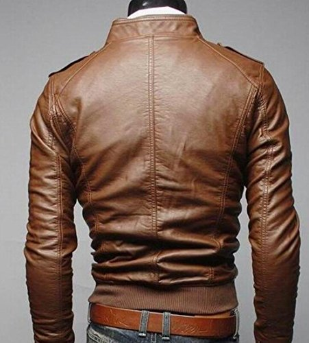 Gocgt Brown Stand Jacket Motorcycle Collar Men's Zipper Leather PU Faux qqzfnTOxR