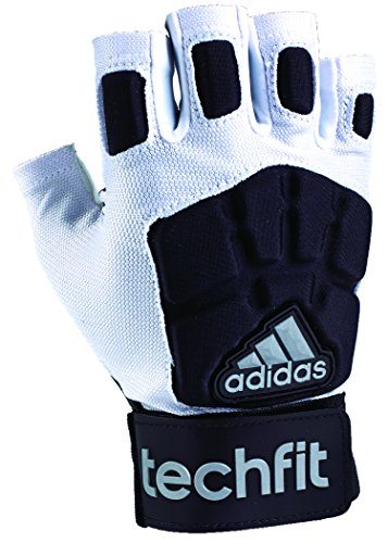 adidas Techfit Lineman Football Half Finger Gloves, White/Black, X-Large