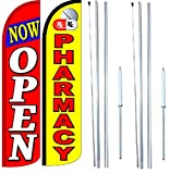Pharmacy Now Open King Windless Flag Sign With Complete Hybrid Pole set - Pack of 2