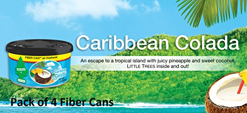 (4 Pack Car Freshner Little Trees Caribbean Colada Fiber Can Air)