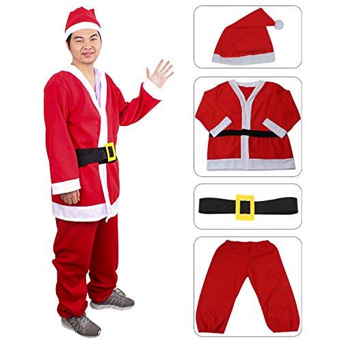 Santa Costumes For Adults (fedio Men's Santa Suit 3Pcs Santa Claus Costume with Claus Hat for Adults Plus Size (2X-Large))