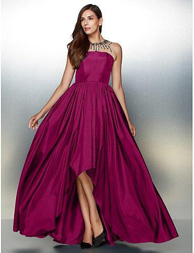 Línea Prom Detallando Cuello Tafetán Formal De Noche Joya Con De Crystal Una Fuchsia De Asimétrica HY amp;OB Vestido Hax0Iw08