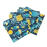 Roostery Blue Hawaii Pineapples Umbrellas Drinks Plumeria Flowers Linen Cotton Dinner Napkins Blue Hawaiian Sweetness by Selmacardoso Set of 4 Dinner Napkins