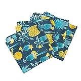 Blue Hawaii Pineapples Umbrellas Drinks Plumeria Flowers Linen Cotton Dinner Napkins Blue Hawaiian Sweetness by Selmacardoso Set of 4 Dinner Napkins