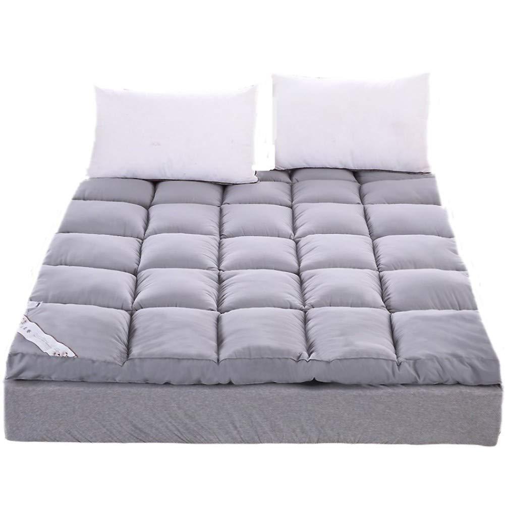 ASDFGH Thicken Floor futon mattresses Feather Velvet Mattress, Foldable Tatami Mattress Ultra Soft Dormitory Mattress, Fiber Mattress Topper-Gray Twin by ASDFGH