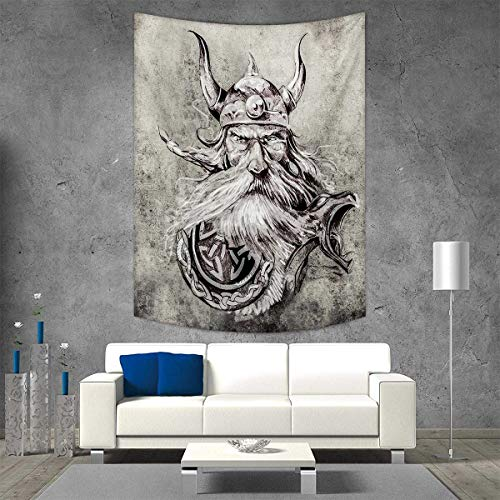 smallbeefly Tattoo Beach Throw Blanket Artistic Pencil Drawing a Brave Viking Warrior Armour Image Adventure Vertical Version Tapestry 54W x 72L INCH Grey -