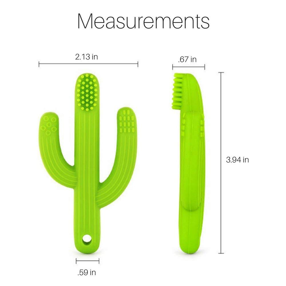 tuxepoc Baby teething toys,Silicone Baby Care Teether,Bendable Training Toothbrush,Silicone Teether cactus (Grass green)
