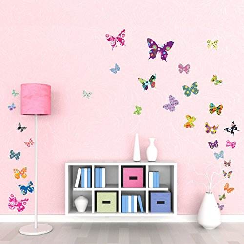 Decowall DW-1201 38 Colourful Flower Butterflies Kids Wall Decals Wall Stickers Peel and Stick Removable Wall Decals for Kids Nursery Bedroom Living ()