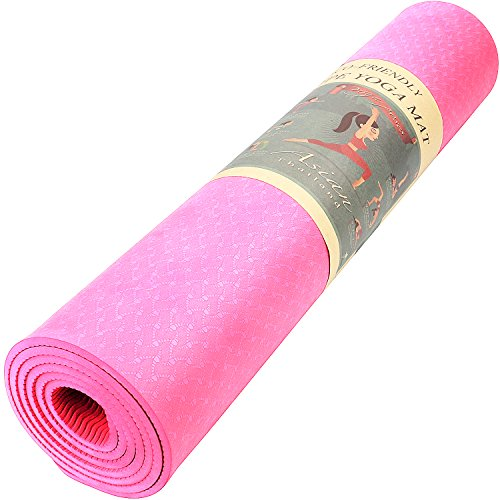 REEHUT 1/4-Inch High Density TPE Exercise Yoga Mat for Pilates, Fitness & Workout with Carrying Strap (Pink) Review