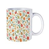 DKISEE Abstract Pumpkin Vines Cream Coffee Mug Novelty 11oz White Ceramic Mug Birthday Christmas Anniversary Gag Gifts Idea