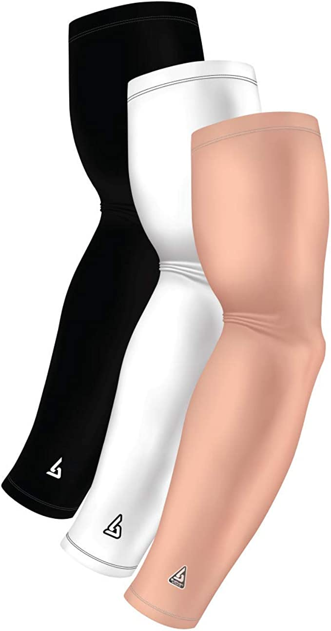 Athletic Compression Arm Sleeves for Men Women Youth 1 Pair B-Driven Sports 40 Designs