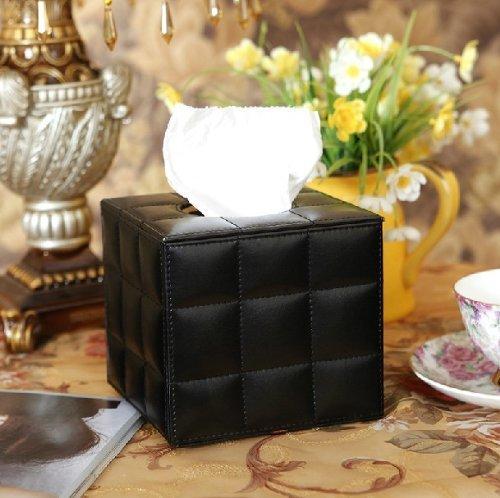 JH(TM) Deal Euro Pu Leather Lovely Creative Black Squared Tissue Box Holder -- Black